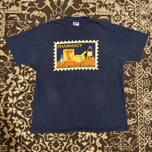 Vintage Pharmacy USPS Stamp T-shirt Mens XL